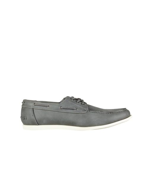 Burton - Gray Grey Leather Look Boat Shoes for Men - Lyst