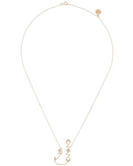 Shamsa Alabbar   Metallic Geometric Kaf Letter Necklace   Lyst
