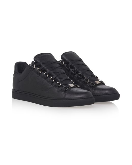 balenciaga arena leather low top sneakers in black lyst. Black Bedroom Furniture Sets. Home Design Ideas
