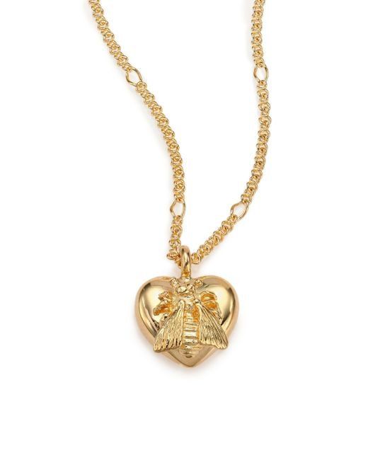 Gucci 18k Yellow Gold Bee Heart Pendant Necklace In