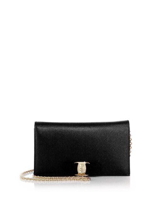 Ferragamo | Black Miss Vara Saffiano Leather Bow Chain Wallet | Lyst