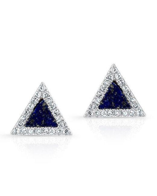 Anne Sisteron | Black 14kt White Gold Lapis Lazuli Diamond Triangle Stud Earrings | Lyst