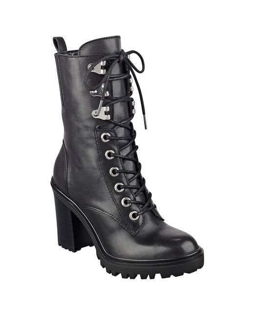 guess gandy leather ankle boots in black save 60 lyst