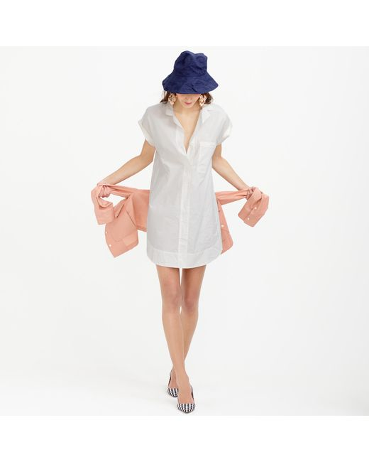 J.Crew | White Short-sleeve Cotton Shirtdress | Lyst