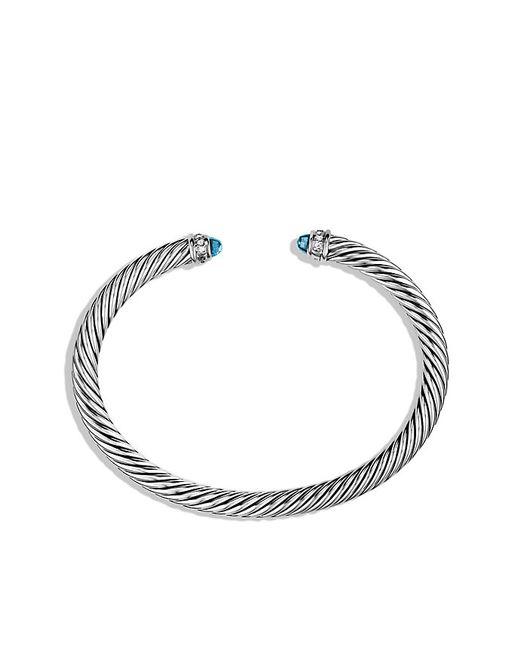 David Yurman | Cable Classics Bracelet With Blue Topaz And Diamonds, 5mm | Lyst