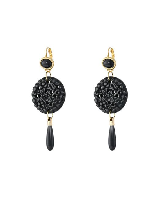 Kenneth Jay Lane | Black Small Top/round Carved Bottom W/ Drop Earrings | Lyst