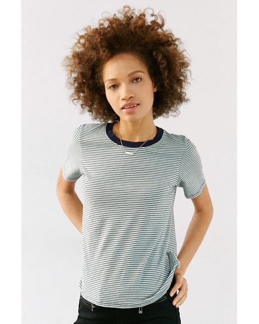Truly Madly Deeply   Green Boyfriend Ringer Tee   Lyst