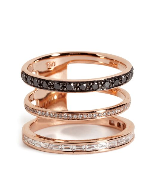 Nikos Koulis | 18kt Pink Gold Ring With Black And White Diamonds | Lyst