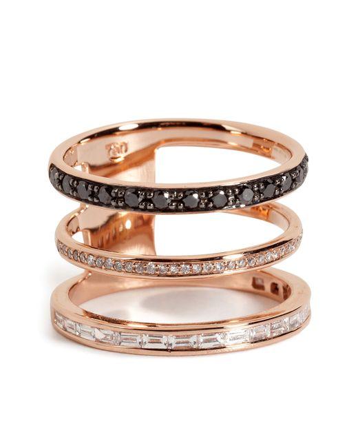 Nikos Koulis | Metallic 18kt Pink Gold Ring With Black And White Diamonds | Lyst