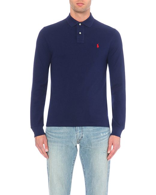 Polo Ralph Lauren | Blue Slim-fit Cotton-piqué Polo Shirt for Men | Lyst