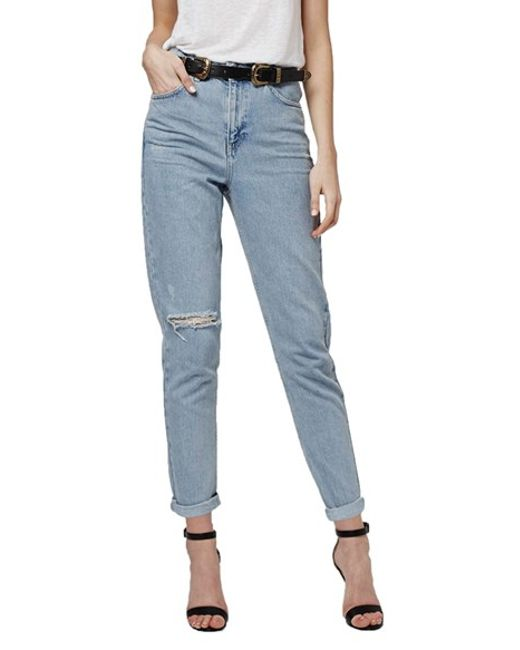 topshop high rise ripped mom jeans in blue lyst. Black Bedroom Furniture Sets. Home Design Ideas