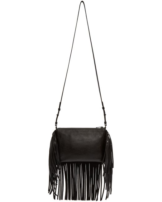 yves st laurent handbags discount - small monogram saint laurent fringed crossbody bag in black leather