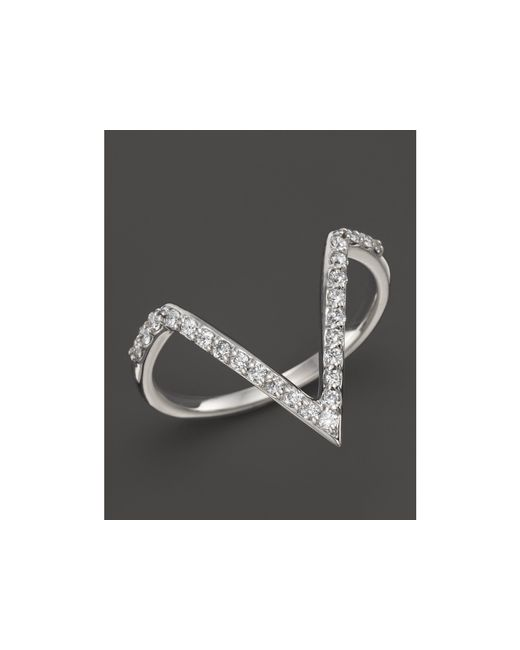 KC Designs | Diamond Angle Ring In 14k White Gold, .25 Ct. T.w. | Lyst