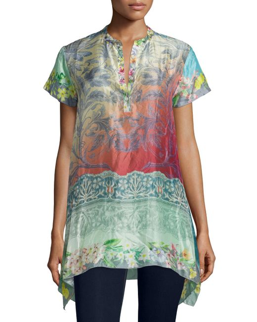 Johnny was nellis short sleeve printed silk tunic in for Johnny was silk shirt