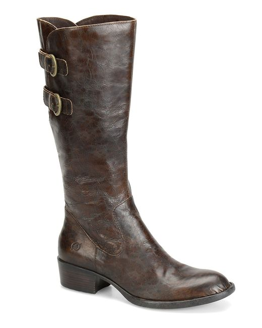 born berry leather boots in brown lyst