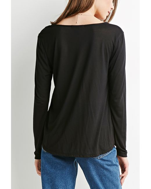 Forever 21 | Black Surplice Front Top | Lyst