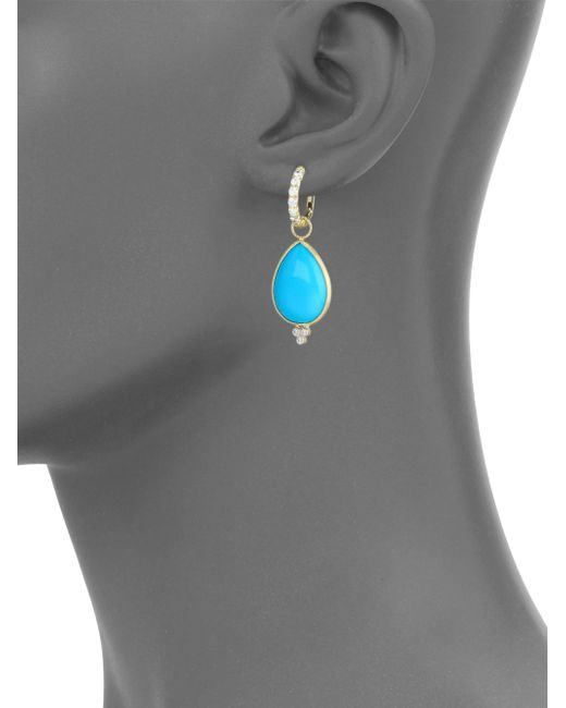 Jude Frances | Metallic Classic Turquoise, Diamond & 18k Yellow Gold Large Pear Earring Charms | Lyst