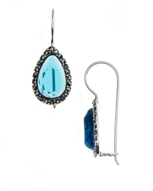Lord & Taylor | Blue Sterling Silver And Marcasite Crystal Drop Earrings | Lyst