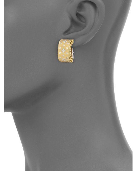 Roberto Coin | Metallic Princess Diamond & 18k Yellow Gold Drop Earrings | Lyst