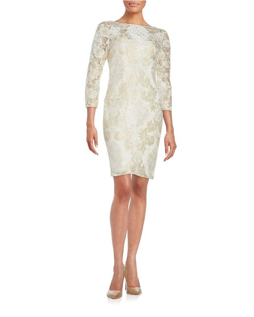 aidan mattox lace dress in white ivory save 40 lyst
