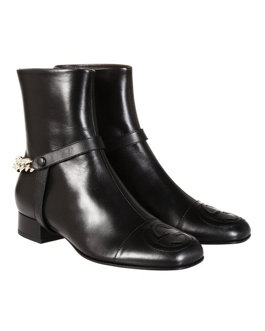 Gucci | Black Leather Ankle Boot | Lyst