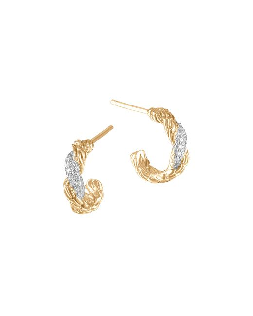 John Hardy | Metallic Women's 18k Gold Classic Chain Diamond Pave Flat Twisted Carved Chain Extra Small Hoop Earrings | Lyst