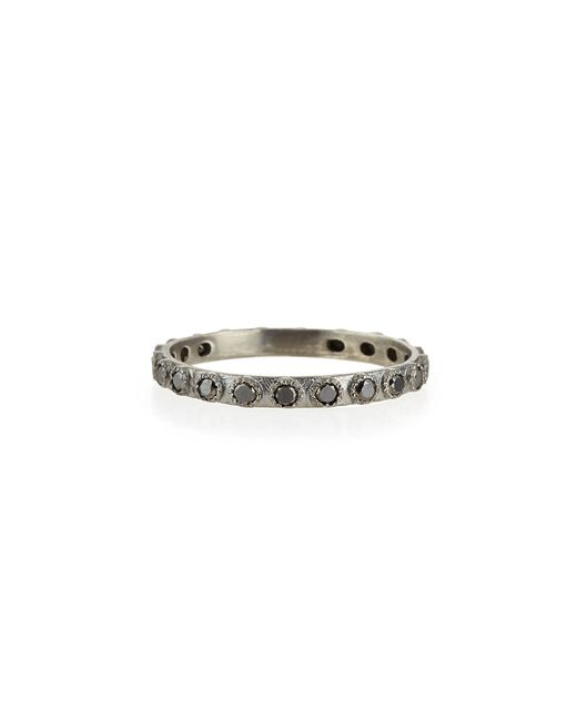Armenta | Black Diamond Silver Stackable Ring | Lyst