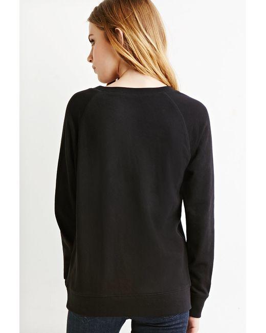 Forever 21 | Black French Terry Raglan Sweatshirt | Lyst