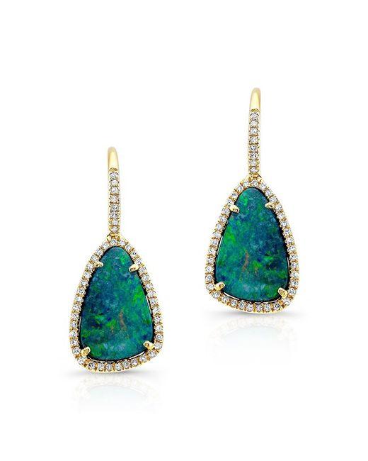 Anne Sisteron - Green 14kt Yellow Gold Organic Opal Diamond Earrings - Lyst