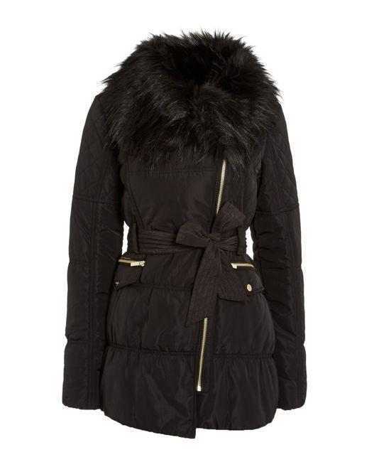 Lipsy   Black Fur Collar with Belt Coat   Lyst