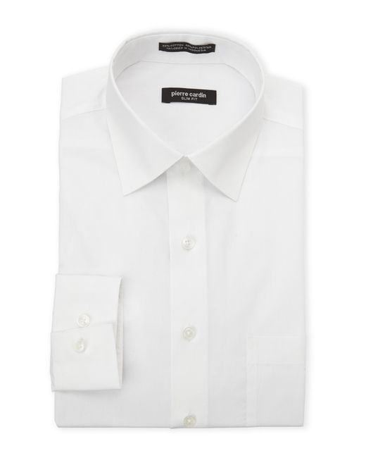 pierre cardin white slim fit solid dress shirt in white