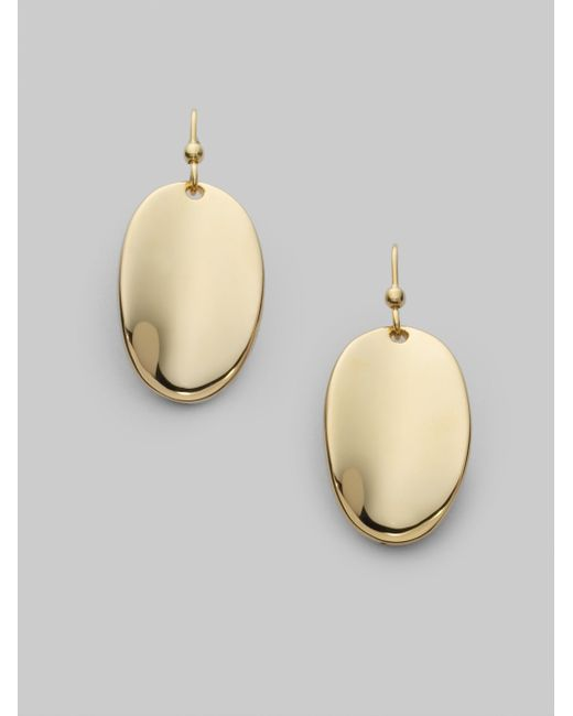 Roberto Coin | Metallic 18k Yellow Gold Oval Drop Earrings | Lyst