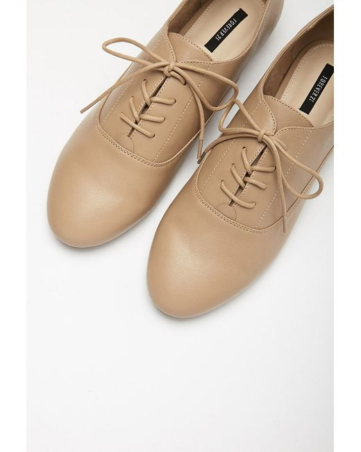 Forever 21 | Natural Faux Leather Oxfords | Lyst