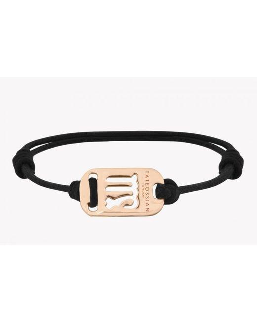 Tateossian | Zodiac 18k Yellow Gold Virgo Black Waxed Cord Bracelet for Men | Lyst