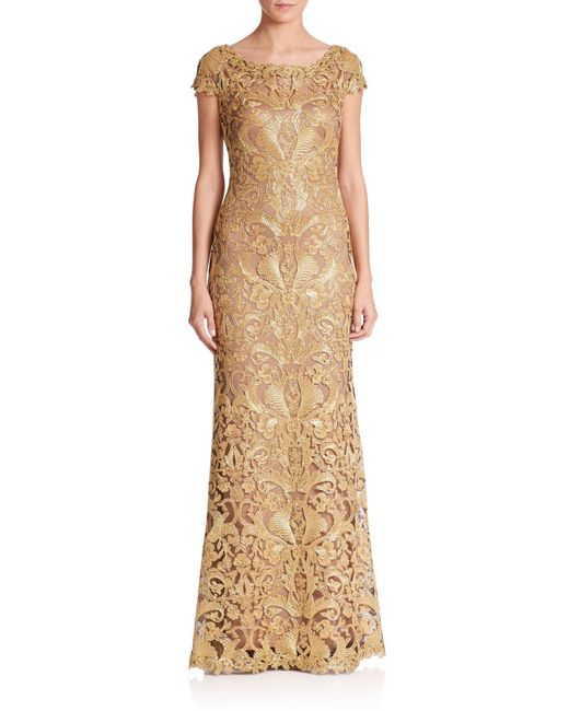 Tadashi Shoji | Gold Embroidered Lace Gown | Lyst