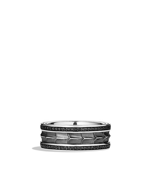 David Yurman | Armory Narrow Band Ring With Black Diamonds for Men | Lyst