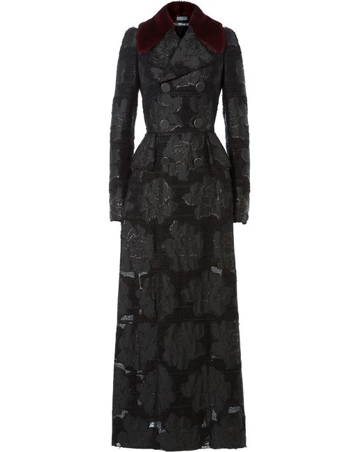 Alexander McQueen | Floral Embroidered Coat With Mink Fur Collar - Black | Lyst
