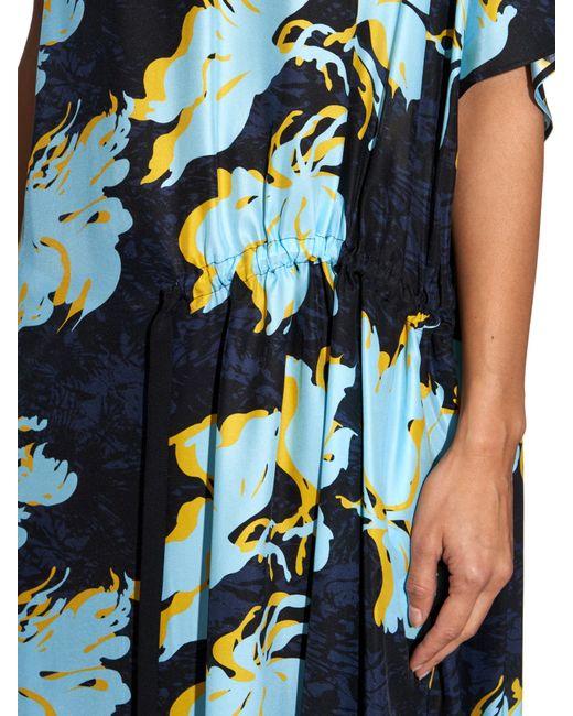Cedric Charlier | Multicolor Floral -print Silk Dress | Lyst