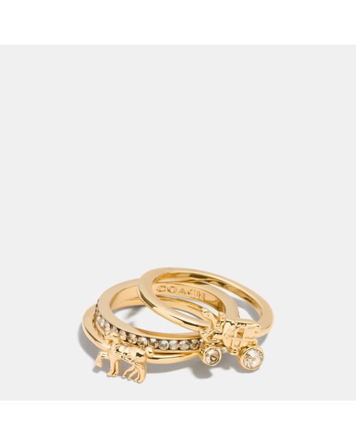 COACH | Metallic Pave Horse And Carriage Ring Set | Lyst