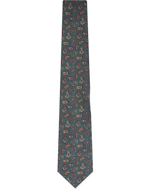 Etro | Green Small Paisley-print Tie for Men | Lyst