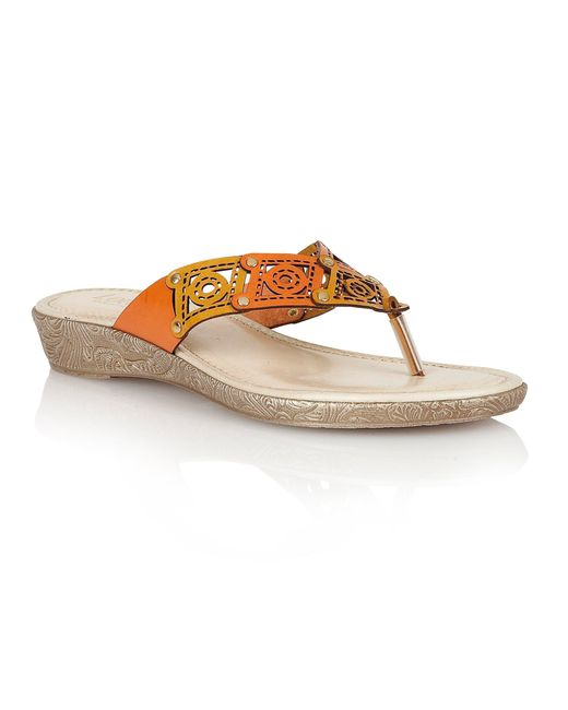 Lotus | Orange Scorch Toe Post Sandals | Lyst