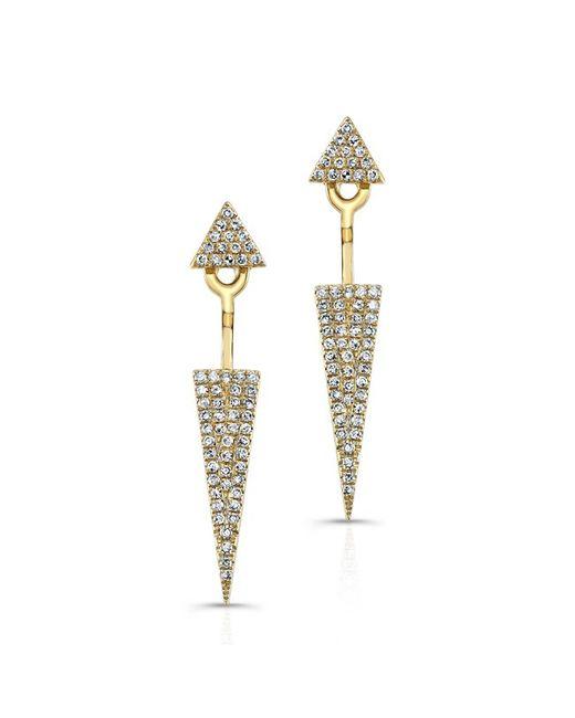 Anne Sisteron | Metallic 14kt Yellow Gold Diamond Double Triangle Floating Earrings | Lyst