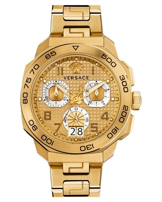 versace dylos chronograph bracelet watch in metallic for men lyst versace metallic dylos chronograph bracelet watch for men lyst