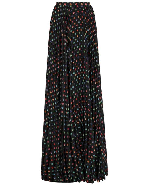 boutique moschino black print satin maxi skirt in