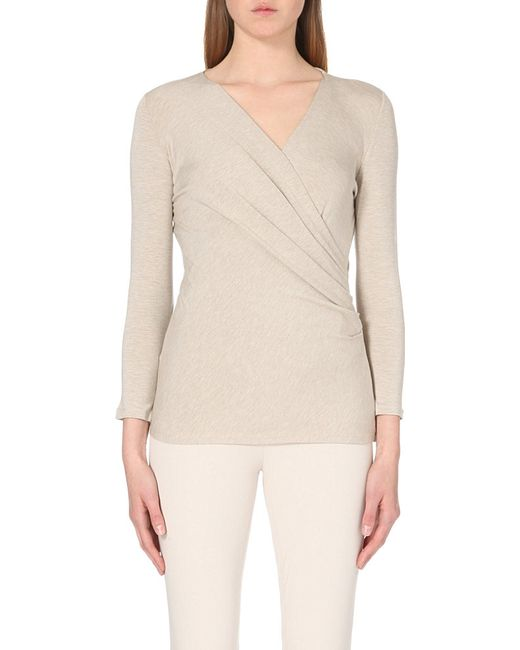 Max Mara | Natural Caprice Ruched Stretch-jersey Top | Lyst