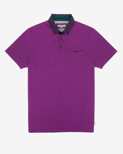 Ted Baker | Black Grosgrain Spot Collar Polo Shirt for Men | Lyst