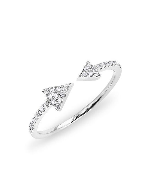 Anne Sisteron - Metallic 14kt White Gold Diamond Open Double Triangle Ring - Lyst