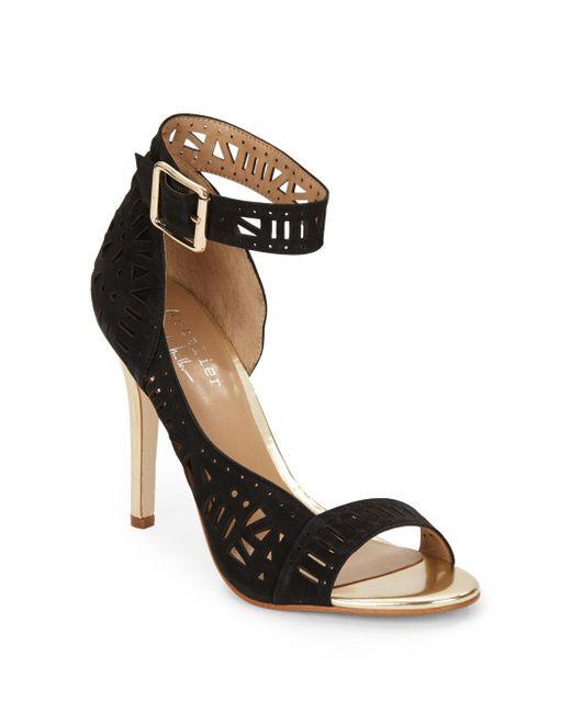 Nicole Miller Artelier | Black Bali Laser-cut Leather Ankle Cuff Pumps | Lyst