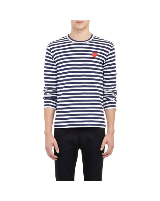 Play Comme des Garçons | Blue Striped Long-sleeve T-shirt for Men | Lyst
