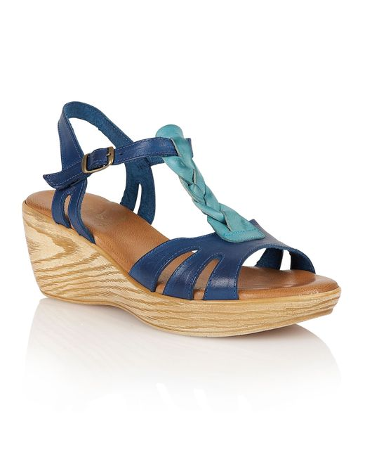 Lotus | Blue Parmaggiano Wedge Sandals | Lyst